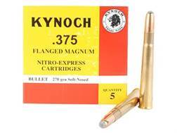Kynoch Ammunition 375 Flanged Magnum 270 Grain Woodleigh Weldcore Soft Point Box of 5