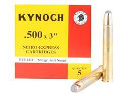 "Kynoch Ammunition 500 Nitro Express 3"" 570 Grain Woodleigh Weldcore Soft Point Box of 5"