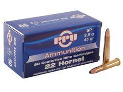 Prvi Partizan Ammunition 22 Hornet 45 Grain Soft Point Box of 50