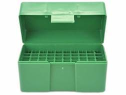 RCBS Flip-Top Ammo Box 17 Remington, 222 Remington, 223 Remington 50-Round Plastic Green
