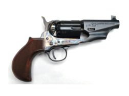 "Pietta 1860 Army Snub Nose Steel Frame Black Powder Revolver with Checkered Thunderer Grips 36 Caliber 3"" Barrel Blue"