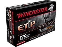 Winchester Ammunition 270 Winchester 130 Grain E-Tip Lead-Free Case of 200 (10 Boxes of 20)