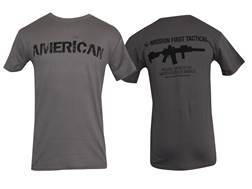 Mission First Tactical American T-Shirt Short Sleeve Cotton Gray Medium