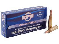 Prvi Partizan Ammunition 22-250 Remington 55 Grain Soft Point Box of 20
