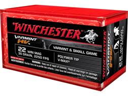 Winchester Varmint High Velocity Ammunition 22 Winchester Magnum Rimfire (WMR) 30 Grain Hornady V-Max Box of 500 (10 Boxes of 50)