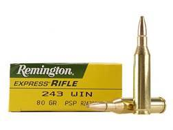 Remington Express Ammunition 243 Winchester 80 Grain Pointed Soft Point Box of 20