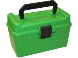 MTM Deluxe Flip-Top Ammo Box with Handle 378 Weatherby Magnum to 500 Nitro Express 50-Round Plastic Green
