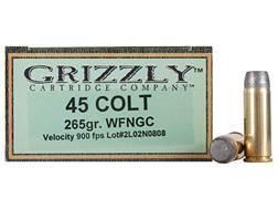 Grizzly Ammunition 45 Colt (Long Colt) 265 Grain Cast Performance Lead Wide Flat Nose Gas Check (950 fps) Box of 20