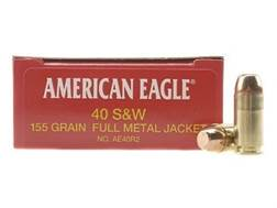 Federal American Eagle Ammunition 40 S&W 155 Grain Full Metal Jacket Box of 50