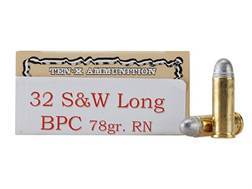 Ten-X Cowboy Ammunition 32 S&W Long 78 Grain Lead Round Nose BPC Box of 50