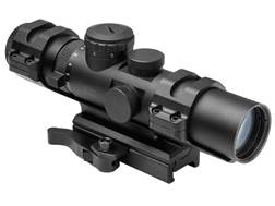 NcStar XRS Series Compact Rifle Scope 34mm Tube 2-7x 32mm Blue Illuminated P4 Sniper Reticle with Weaver and Carry Handle Mount Black
