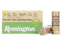 "Remington Premier Nitro Gold Sporting Clays Target Ammunition 12 Gauge 2-3/4"" 1-1/8 oz #7-1/2 Shot High Velocity"