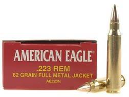 Federal American Eagle Ammunition 223 Remington 62 Grain Full Metal Jacket Case of 500 (25 Boxes of 20)