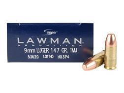 Speer Lawman Ammunition 9mm Luger 147 Grain Total Metal Jacket