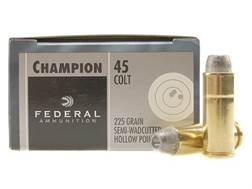 Federal Champion Ammunition 45 Colt (Long Colt) 225 Grain Lead Semi-Wadcutter Hollow Point Box of 20
