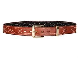 "Ross Leather Fancy Stitch Dress Belt 1-1/2"" Brass Buckle Leather Tan 40"""