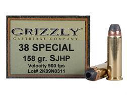Grizzly Ammunition 38 Special 158 Grain Jacketed Hollow Point Box of 20