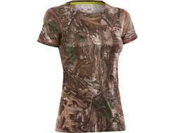 Under Armour Women's EVO HeatGear Crew Shirt Short Sleeve Polyester Realtree Xtra Camo XL (16-18)
