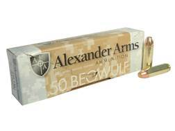 Alexander Arms Ammunition 50 Beowulf 335 Grain Rainier Plated Flat Point Box of 20