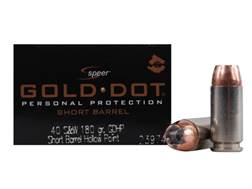 Speer Gold Dot Short Barrel Ammunition 40 S&W 180 Grain Jacketed Hollow Point Box of 20