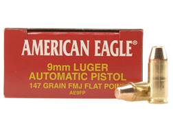 Federal American Eagle Ammunition 9mm Luger 147 Grain Full Metal Jacket Box of 50