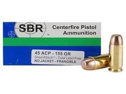 SBR GreenMatch Ammunition 45 ACP 155 Grain Reduced Hazard Frangible Lead-Free Box of 50