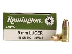 Remington UMC Ammunition 9mm Luger 115 Grain Full Metal Jacket Box of 100