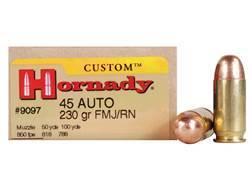 Hornady Custom Ammunition 45 ACP 230 Grain Full Metal Jacket Box of 20
