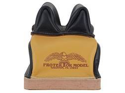 Protektor Deluxe Double Stitched Mid-Ear Rear Shooting Rest Bag with Heavy Doughnut Bottom Leather Black and Yellow Unfilled