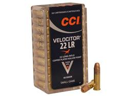 CCI Velocitor Ammunition 22 Long Rifle 40 Grain Plated Lead Hollow Point Box of 500 (10 Boxes of 50)