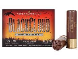 "Federal Premium Black Cloud Ammunition 10 Gauge 3-1/2"" 1-5/8 oz #2 Non-Toxic FlightStopper Steel Shot"