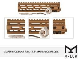 "Geissele Super Modular Rail MK8 M-Lok Free Float Handguard AR-15 Aluminum Desert Dirt Color 9.5"""