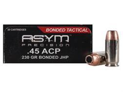 ASYM Precision Bonded Tactical Ammunition 45 ACP 230 Grain Jacketed Hollow Point Box of 20