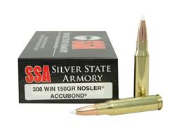Silver State Armory Ammunition 308 Winchester 150 Grain Nosler AccuBond Box of 20