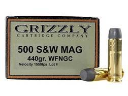 Grizzly Ammunition 500 S&W Magnum 440 Grain Cast Performance Lead Wide Flat Nose Gas Check Box of 20