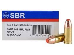 SBR LaserMatch Tracer Ammunition 9mm Luger 147 Grain Full Metal Jacket SRVT Subsonic Box of 20