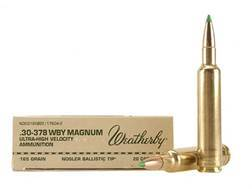 Weatherby Ammunition 30-378 Weatherby Magnum 165 Grain Nosler Ballistic Tip Box of 20