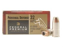 Federal Premium Personal Defense Ammunition 32 ACP 65 Grain Hydra-Shok Jacketed Hollow Point Box of 20