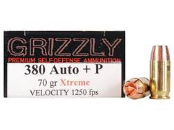Grizzly Self-Defense Ammunition 380 ACP +P 70 Grain Xtreme Copper Hollow Point Lead-Free Box of 20
