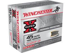 Winchester Super-X Ammunition 45 ACP 185 Grain Silvertip Hollow Point