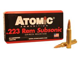 Atomic Ammunition 223 Remington 77 Grain Hollow Point Boat Tail Subsonic Box of 50