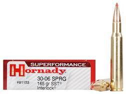 Hornady SUPERFORMANCE SST Ammunition 30-06 Springfield 165 Grain SST InterLock Box of 20