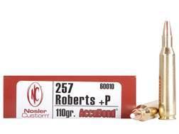 Nosler Trophy Grade Ammunition 257 Roberts +P 110 Grain AccuBond Box of 20