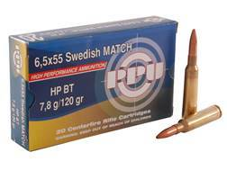 Prvi Partizan Match Ammunition 6.5x55mm Swedish Mauser 120 Grain Hollow Point Boat Tail Box of 20