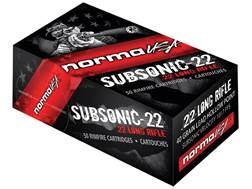 Norma Subsonic-22 Ammunition 22 Long Rifle 40 Grain Lead Hollow Point Subsonic