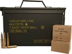 GGG Ammunition 7.62x51mm NATO 147 Grain Full Metal Jacket Ammo Can of 640