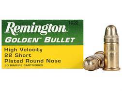 Remington High Velocity Ammunition 22 Short 29 Grain Plated Lead Round Nose
