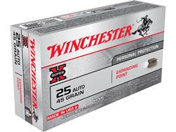 Winchester Super-X Ammunition 25 ACP 45 Grain Expanding Point