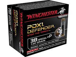 Winchester PDX1 Defender Ammunition 38 Special +P 130 Grain Bonded Jacketed Hollow Point