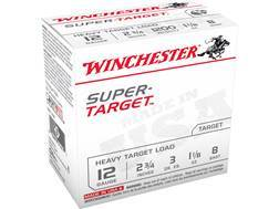 "Winchester Super-Target Ammunition 12 Gauge 2-3/4"" 1-1/8 oz #8 Shot"